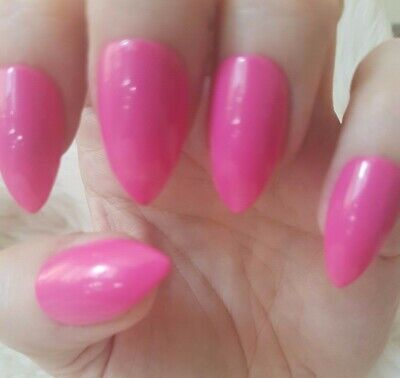Hand Painted Hot Pink False Nails. 20 Short Stiletto Press-on Nails. Glossy.