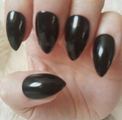 Hand Painted Black False Nails. 20 Short Stiletto Press-on Nails. Glossy.