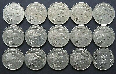 NEW ZEALAND - 15 Various 20 cents coins 1967-1988
