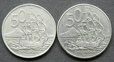 NEW ZEALAND - 2 Various 50 Cents coins 1973-1986