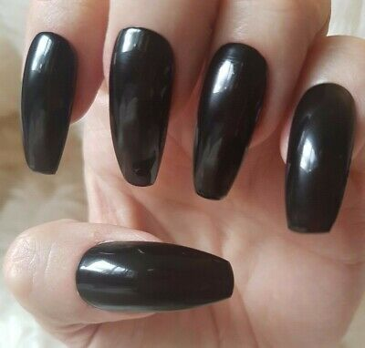 Hand Painted Black False Nails. 20 Long Coffin Press-on Nails. Glossy.