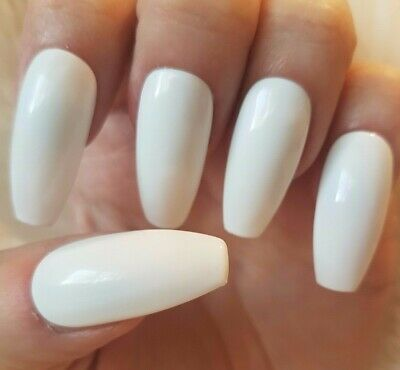 Hand Painted White False Nails. 20 Long Coffin Press-on Nails. Glossy.