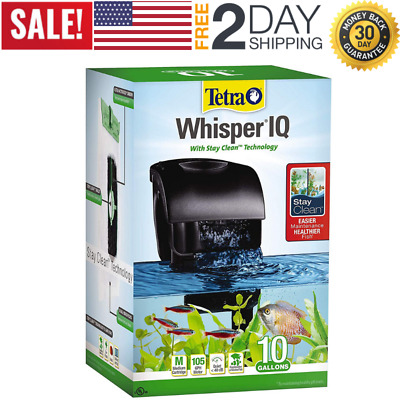 Whisper IQ Power Filter for Aquariums Fish Tank, 10/20/30/45/60 Gallon Quiet NEW