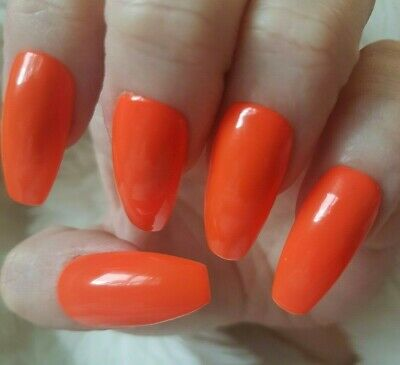 Hand Painted Orange False Nails. 20 Long Coffin Press-on Nails. Glossy.