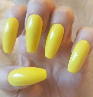 Hand Painted Yellow False Nails. 20 Long Coffin Press-on Nails. Glossy.