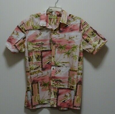 9fc8e2ac Kahala 1936 Hawaiian - Alhoa Shirt Mens L 100% Cotton - Coral with Palm  Trees