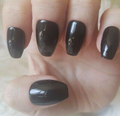 Hand Painted Black False Nails. 20 Short Coffin Press-on Nails. Glossy.
