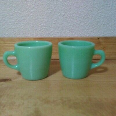 Fire King Jadeite Pair of Heavy Restaurant Ware Coffee Cups Vintage GUC Logo
