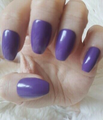 Hand Painted Dark Purple False Nails. 20 Short Coffin Press-on Nails. Glossy.