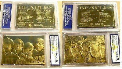 "Beatles - Pair of 23k Gold Trading Cards ""For Sale"" & ""Abbey Road"" Album Covers"