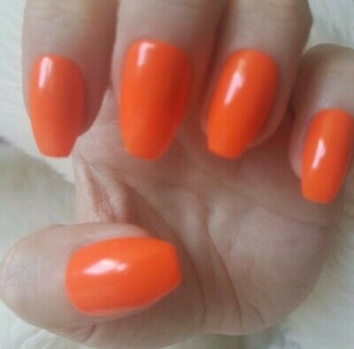 Hand Painted Orange False Nails. 20 Short Coffin Press-on Nails. Glossy.