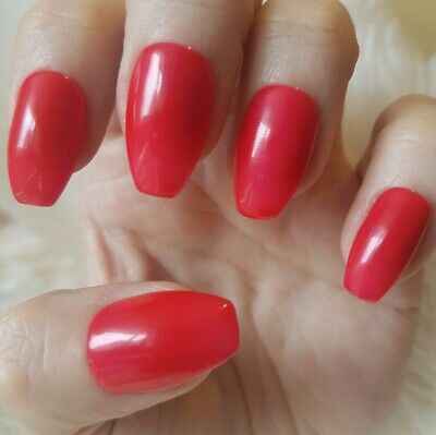Hand Painted Red False Nails. 20 Short Coffin Press-on Nails. Glossy.