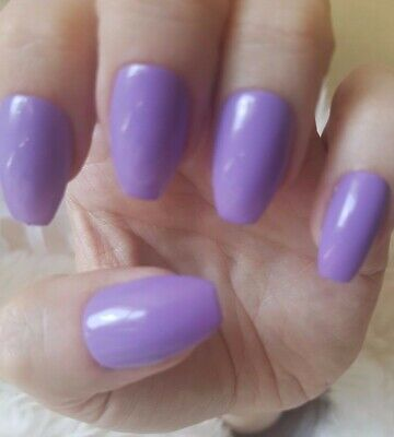 Hand Painted Violet False Nails. 20 Short Coffin Press-on Nails. Glossy.