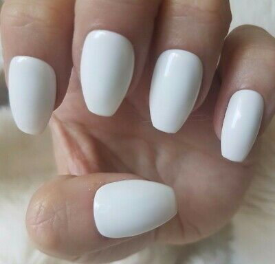 Hand Painted White False Nails. 20 Short Coffin Press-on Nails. Glossy.