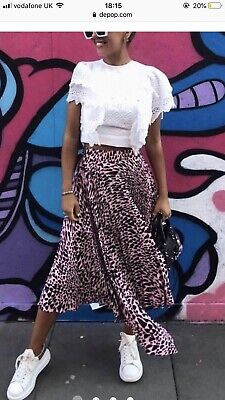 48bd20eb13 BNWT Sold Out Topshop Taylor Pink Animal Pleat Midi Skirt : UK 12