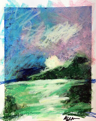 """Claire McElveen Abstract  Impressionist Southern Art """"Emerald Marsh """" Signed"""