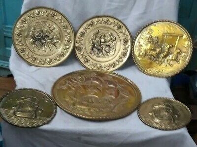 Vintage Set Of 6 Brass Wall Plaques.