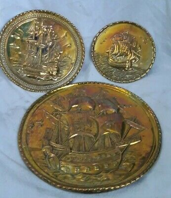 "Vintage Set Of 3 Brass Wall Plaques  ""ships"""
