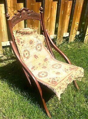 Antique 19th C. Victorian Oak Childs Folding Campaign Chair Carpet Seat 1873