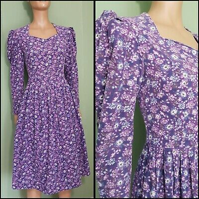 e3d2965a3f4a 80s Does 40s Vintage Laura Ashley Soft Cord Floral Full Skirt Dress. (Pin-