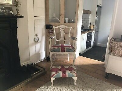 Vintage Antique Retro Shabby Chic Carver Chair, Victorian Matching Foot Stall