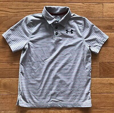 e10ac2fc UNDER ARMOUR BOYS Neon Orange Gray Golf Polo Loose Fit Size YL Youth ...