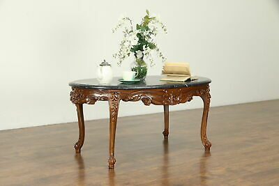 French Style Vintage Carved Walnut Oval Coffee Table, Black Marble #31284