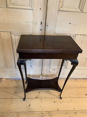 Antique turn over top fold out Victorian console tea table / card games table