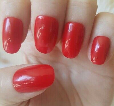 Hand Painted Red False Nails. 20 Medium Oval Press-on Nails. Glossy.