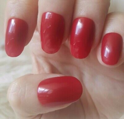 Hand Painted Wine Red False Nails. 20 Medium Oval Press-on Nails. Glossy.