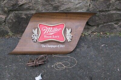 vintage MILLER High Life the champagne of Beer Lighted mid-century bar wall SIGN