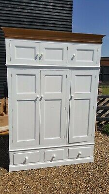 Large White Painted Pine Wardrobe