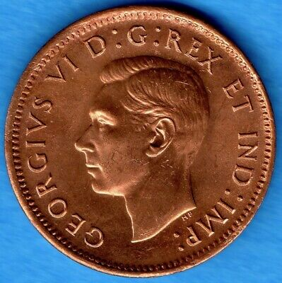 Canada 1947 Maple Leaf ML 1 Cent Small Penny Coin - Choice Uncirculated