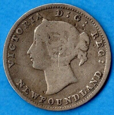 Canada Newfoundland 1881 5 Cents Five Cent Small Silver Coin - Very Good