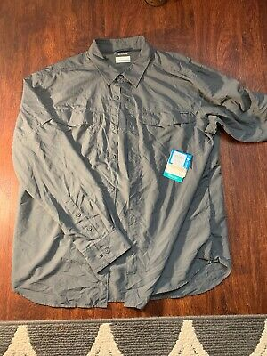 1bf08b323c8 Columbia Kestrel Trail Long Sleeve Omni Shade UPF 50 Men's Shirt GREY Small  NEW