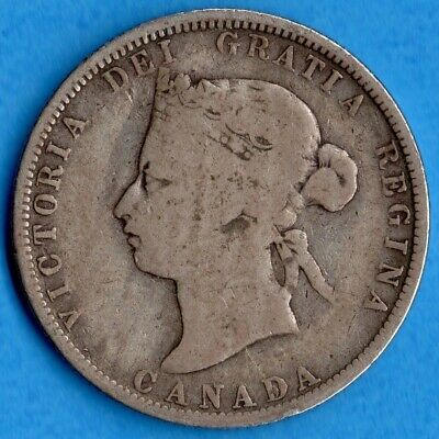 Canada 1881 H 25 Cents Twenty Five Cent Silver Coin - Good