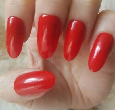 Hand Painted Red False Nails. 20 Long Oval Press-on Nails. Glossy.