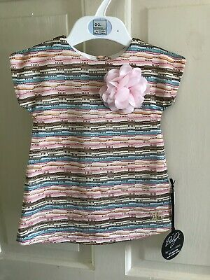BNWT Baby K Multi Coloured Dress With Flower Detail.Girls. Age 0 - 3 Months.