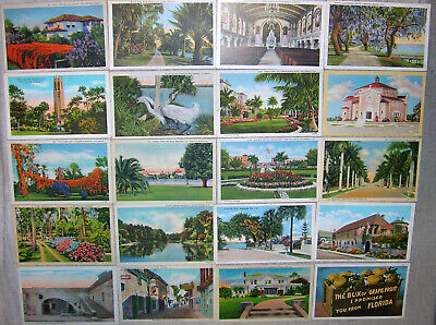 Large Lot of 100 Vintage Florida White Border Linen Postcards - Unused
