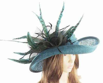 Teal Green & Black Hat Ascot Kentucky Derby Proms   *SAMPLE SALE