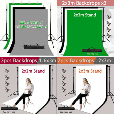 Photography Studio 1.6x3/2x3m Backdrop Background Support Stand Kit Video Photo