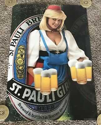 Vintage 1985 St. Pauli Girl Beer Poster, 21x32, Rolled