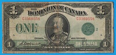 $1 1923 Dominion of Canada Note Green Seal DC-25j - Very Good