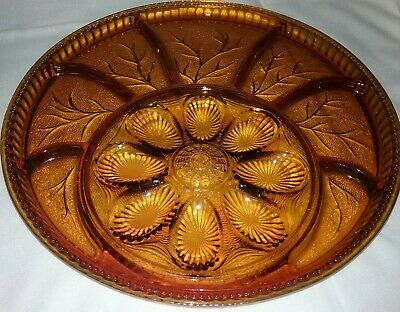 "Vintage  Indiana Glass Amber 13"" Round DEVILED EGG Divided Relish Platter USA"