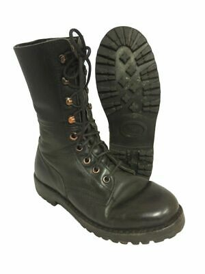 1980s Austrian army lightweight boots Black leather paratrooper summer combat
