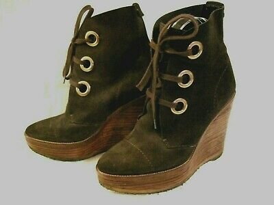 9f6a34da RARE YVES SAINT Laurent YSL Lace Up Brown Suede Wedge Ankle Boots 36