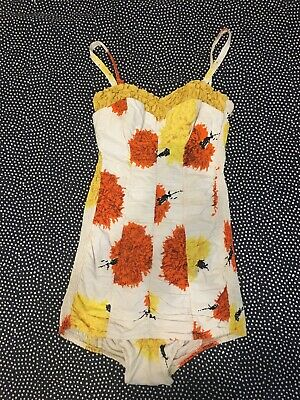 50s Vintage Women's Swimsuit Rockabilly Pin Up Bathing Suit Costume Approx Sz 10
