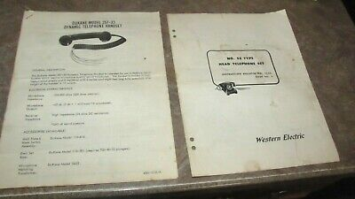 Lot 2 Vintage Dukane Telephone Handset & Western Electric Operator Repair Manual