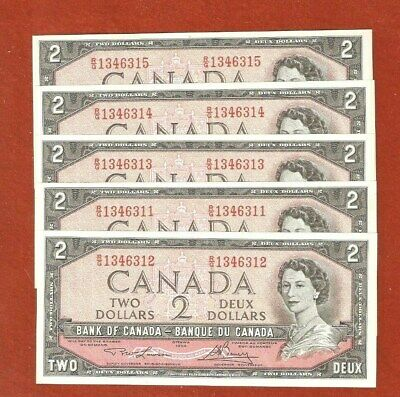 Rare 5 1954 Consecutive Serial Number Two Dollar Bank Notes  Uncirculated E497