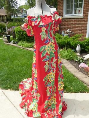VINTAGE 1940'S WATUMULL'S BY DIANNE HAWAIIAN RED FLORAL DRESS GOWN w FISHTAIL